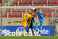 HARRISON, NJ - MARCH 11: Guido Pizarro #19 of Tigres UANL goes up for a header with Ronald Matarrita #22 of NYCFC during a game between Tigres UANL and NYCFC at Red Bull Arena on March 11, 2020 in Harrison, New Jersey.