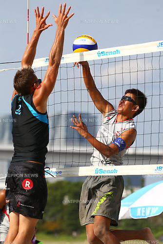 Satoshi Watanabe,<br /> SEPTEMBER 21, 2015 - Beach Volleyball : <br /> JBV Tour 2015 Tokyo Open<br /> Men's Final<br /> at Odaiba Beach, Tokyo, Japan.<br /> (Photo by Shingo Ito/AFLO SPORT)