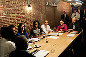 United States President Barack Obama and First Lady Michelle Obama have dinner with winners of a campaign contest, including, from far left, Bob Newkirk and ReGina Newkirk, with their backs to the camera, from Nashville, TN, John Loringer and Cathleen Loringer, from Wauwatosa, WI, Judy Glassman and Mitch Glassman, from Cambridge, MA, at Boundary Road, on Thursday, March 8, 2012, in Washington, DC.  .Credit: Leslie E. Kossoff / Pool via CNP