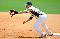 22 April 2012:  FIU infielder/outfielder Adam Kirsch (10) pulls in a pick-off attempt as the University of Arkansas Little Rock Trojans defeated the FIU Golden Panthers, 7-6, at University Park Stadium in Miami, Florida.
