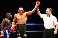 November 9th 2007 - Tyrone Wright celebrates after his bout with Simeon Cover at the Ice Arena, Nottingham, England