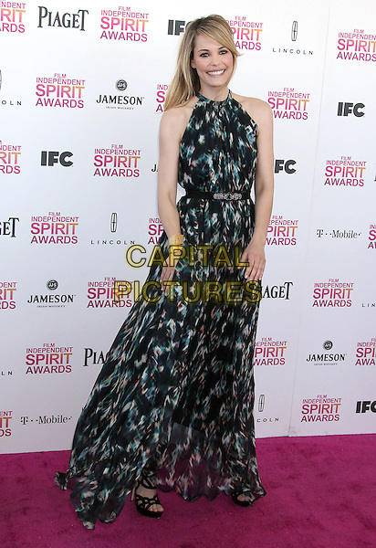 Leslie Bibb.2013 Film Independent Spirit Awards - Arrivals Held At Santa Monica Beach, Santa Monica, California, USA,.23rd February 2013..indy indie indies indys full length print dress maxi black green gold cuff clutch bag sleeveless.CAP/ADM/RE.©Russ Elliot/AdMedia/Capital Pictures