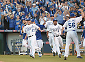 Norichika Aoki (Royals), team group,<br /> OCTOBER 15, 2014 - MLB : Norichika Aoki (23) and Terrance Gore  (0) of the Kansas City Royals celebrate with teammates after winning the Major League Baseball American League championship series Game 4 at Kauffman Stadium in Kansas City, Missouri, USA. <br /> (Photo by AFLO)