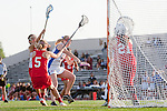 Placentia, CA 05/14/10 - Ava Elsner (Redondo #5), Tracy Paulson (Los Alamitos # 11) and Heather Czech (Redondo #21) in action during the 2010 CIF Girls Lacrosse Championship game between Redondo Union and Los Alamitos, Los Alamitos defeated Redondo 24-7.