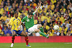 29 May 2008: Robbie Keane (IRL) (10) loses his feet as he is defended by Luis Amaranto Perea (COL) (14). The Republic of Ireland Men's National Team defeated the Colombia Men's National Team 1-0 at Craven Cottage in London, England in an international friendly soccer match.