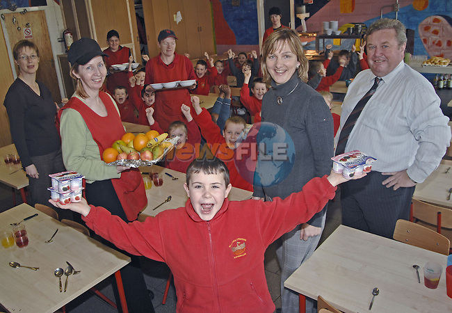 19th January, 2007.Prior to the launch of the Impact Analysis Study of the St. John's Junior National School and St. Paul's Senior National School Breakfast Club (Drogheda) to be held on Wed 24th January. With pupils from from the above are from L to R: Sally Kear (Project Co-ordinator), Aisling Dowling (Caterer), Dympna MacKenna (principal, St. John's), Seamus Lynch (principal, St. Pauls), Geraldine McCabe (centre) (Caterer), Jinty Farrell (back left) and Caroline Gregory (Caterer).