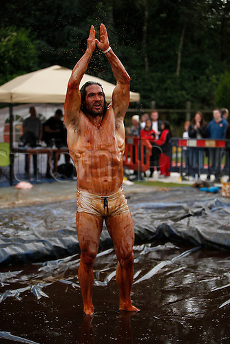 31.08.2015. Stackheads, England. World Gravy Wrestling Championship. 2015 Men's World Gravy Wrestling champion, Joel Hicks of Leicester, who defeated Dave Simpson in the final. Contestants wrestled in a two minute long match in  1,500 litres of hot gravy.