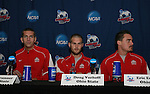 15 December 2007: Ohio State's Eric Brunner, Doug Verhoff, Eric Edwards. The Ohio State Buckeyes held a press conference at SAS Stadium in Cary, North Carolina one day before playing in the NCAA Division I Mens College Cup championship game.