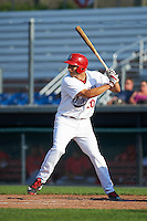 Auburn Doubledays first baseman Ryan Ripken (20) at bat during a game against the Williamsport Crosscutters on June 26, 2016 at Falcon Park in Auburn, New York.  Auburn defeated Williamsport 3-1.  (Mike Janes/Four Seam Images)