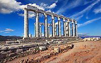 The temple of Poseidon (448-440 B.C.) in Sounio, Greece