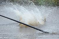 FIERLJEPPEN: JOURE: Accommodatie Koarte Ekers, Fierljepvereniging De Lege Wâlden Joure, 23-06-2012, 1e Klas wedstrijd, natsprong, ©foto Martin de Jong