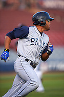 Brooklyn Cyclones outfielder Desmond Lindsay (5) runs to first during the first game of a doubleheader against the Connecticut Tigers on September 2, 2015 at Senator Thomas J. Dodd Memorial Stadium in Norwich, Connecticut.  Brooklyn defeated Connecticut 7-1.  (Mike Janes/Four Seam Images)