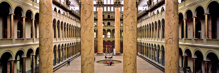 National Building Museum's Great Hall. It features 75 foot tall columns made of plaster coated bricks in Washington, DC.<br />