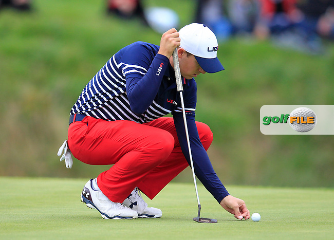 Jordan Spieth (USA) on the 15th green during Sunday's Singles Matches of the Ryder Cup 2014 played on the PGA Centenary Course at the Gleneagles Hotel, Auchterarder, Scotland.: Picture Eoin Clarke, www.golffile.ie: 28th September 2014