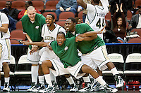 February 25, 2010:     Jacksonville bench celebrates during Atlantic Sun Conference action between the Jacksonville Dolphins and the Campbell Camels at Veterans Memorial Arena in Jacksonville, Florida.  Jacksonville defeated Campbell 65-52.