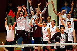29 APR 2012:  Members of the Springfield College Men's Volleyball team react as their starters score a point against Carthage College during the Division III Men's Volleyball Championship held at Blake Arena in Springfield, MA.  Springfield defeated Carthage 3-0 to win the national title.  Jessica Rinaldi/NCAA Photos