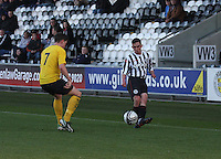 Anton Brady crosses as Steven Brisbane watches in the St Mirren v Falkirk Clydesdale Bank Scottish Premier League Under 20 match played at St Mirren Park, Paisley on 30.4.13.