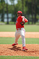 GCL Phillies relief pitcher Robinson Martinez (64) delivers a pitch during a game against the GCL Tigers East on July 25, 2017 at TigerTown in Lakeland, Florida.  GCL Phillies defeated the GCL Tigers East 4-1.  (Mike Janes/Four Seam Images)