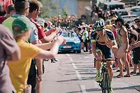"Timothy Dupont (BEL/Wanty Groupe Gobert) suggesting a 'little puch won't hurt' coming through ""Dutch Corner"" (#7) on Alpe d'Huez<br /> <br /> Stage 12: Bourg-Saint-Maurice / Les Arcs > Alpe d'Huez (175km)<br /> <br /> 105th Tour de France 2018<br /> ©kramon"