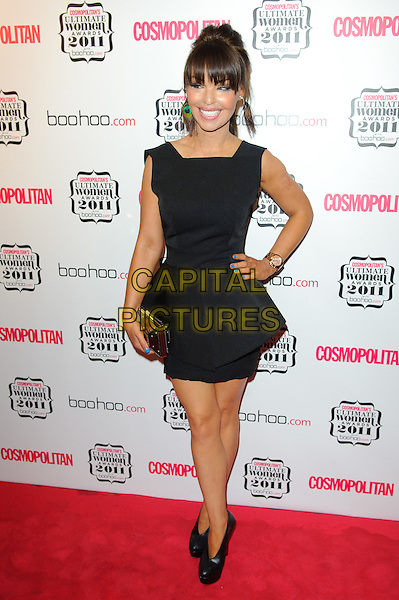 Katie Piper.Cosmopolitan Ulimate Women Of The Year Awards, Banqueting House, Whitehall, London, England..November 3rd, 2011.full length black sleeveless peplum dress clutch bag shoes booties.CAP/CJ.©Chris Joseph/Capital Pictures.