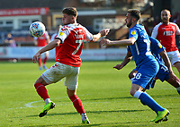 Fleetwood Town's Wes Burns competes with Peterborough United's Daniel Lafferty<br /> <br /> Photographer Richard Martin-Roberts/CameraSport<br /> <br /> The EFL Sky Bet League One - Fleetwood Town v Peterborough United - Friday 19th April 2019 - Highbury Stadium - Fleetwood<br /> <br /> World Copyright © 2019 CameraSport. All rights reserved. 43 Linden Ave. Countesthorpe. Leicester. England. LE8 5PG - Tel: +44 (0) 116 277 4147 - admin@camerasport.com - www.camerasport.com