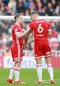 5th November 2017, Riverside Stadium, Middlesbrough, England; EFL Championship football, Middlesbrough versus Sunderland; Grant Leadbitter of Middlesbrough hands over the captains armband to Ben Gibson of Middlesbrough as he was substituted