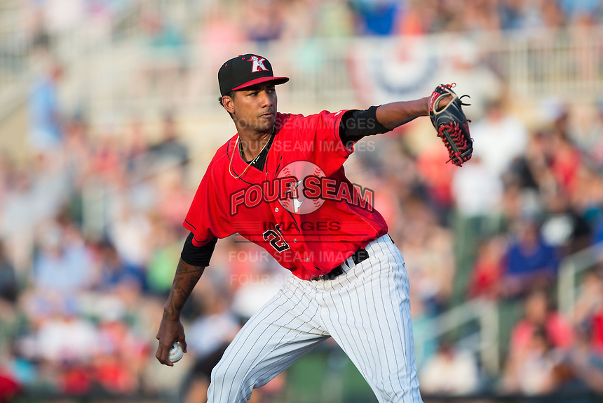 Kannapolis Intimidators starting pitcher Luis Martinez (29) in action against the Hagerstown Suns at Kannapolis Intimidators Stadium on July 4, 2016 in Kannapolis, North Carolina.  The Intimidators defeated the Suns 8-2.  (Brian Westerholt/Four Seam Images)