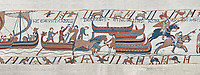 Bayeux Tapestry scene 39:  Horses are disembarked in England from Duke Williams invasion fleet. BYX39
