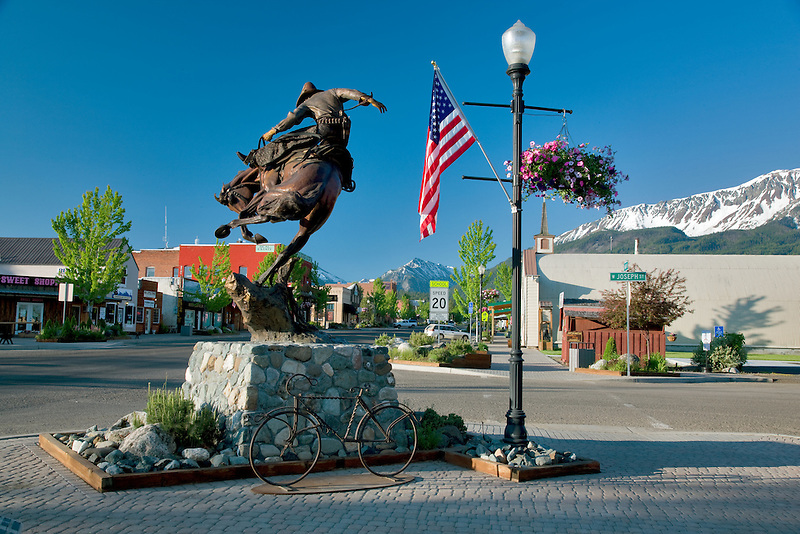 Downtown Joseph, Oregon with Wallowa Mountains.