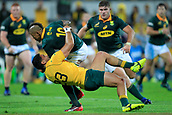 9th September 2017, nib Stadium, Perth, Australia; Supersport Rugby Championship, Australia versus South Africa; Curtis Rona of the Australian Wallabies tackles Elton Jantjies of the South African Springboks during the second half