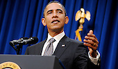United States President Barack Obama delivers a statement to the press following his meeting with bipartisan Congressional leadership, Tuesday,  November 30, 2010 in the Eisenhower Executive Office Building in Washington, DC. .Credit: Olivier Douliery / Pool via CNP