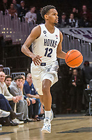 WASHINGTON, DC - JANUARY 28: Terrell Allen #12 of Georgetown moves up court during a game between Butler and Georgetown at Capital One Arena on January 28, 2020 in Washington, DC.