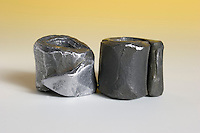 LEAD WEIGHTS.Pb - Atomic Number 82 - Atomic Weight 207.2.<br /> Tarnished and cleaned samples from Sash Window Built In 1911. Lead is a bluish-white metal of bright luster, is very soft, highly malleable, ductile, and a poor conductor of electricity. It is very resistant to corrosion.