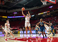 COLLEGE PARK, MD - NOVEMBER 20: Shakira Austin #1 of Maryland pulls down a rebound during a game between George Washington University and University of Maryland at Xfinity Center on November 20, 2019 in College Park, Maryland.