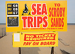 Sign for Sea Trips to see seals at Scroby Sands, Great Yarmouth, Norfolk, England