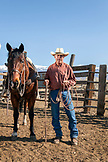 USA, California, Mammoth, a cowboy stands beside his horse on Tatum Ranch in Bishop
