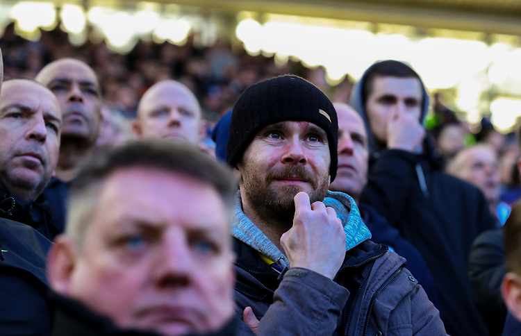 Leeds United fans watch on during the first half<br /> <br /> Photographer Alex Dodd/CameraSport<br /> <br /> The EFL Sky Bet Championship - Middlesbrough v Leeds United - Saturday 9th February 2019 - Riverside Stadium - Middlesbrough<br /> <br /> World Copyright &copy; 2019 CameraSport. All rights reserved. 43 Linden Ave. Countesthorpe. Leicester. England. LE8 5PG - Tel: +44 (0) 116 277 4147 - admin@camerasport.com - www.camerasport.com