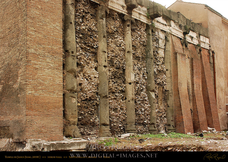 Ionic columns Entablature Temple of Janus 260 BC North Wall San Nicola in Carcere Rome