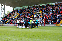 Woking team huddle ahead of Woking vs Welling United, Vanarama National League South Promotion Play-Off Final Football at The Laithwaite Community Stadium on 12th May 2019
