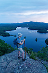 Hiker at Maidens Cliff, Camden, Maine USA