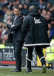 Darren Wassall, manager of Derby speaks with Forest manager, Paul Williams during the Skybet Championship match at the iPro Stadium. Photo credit should read: Philip Oldham/Sportimage