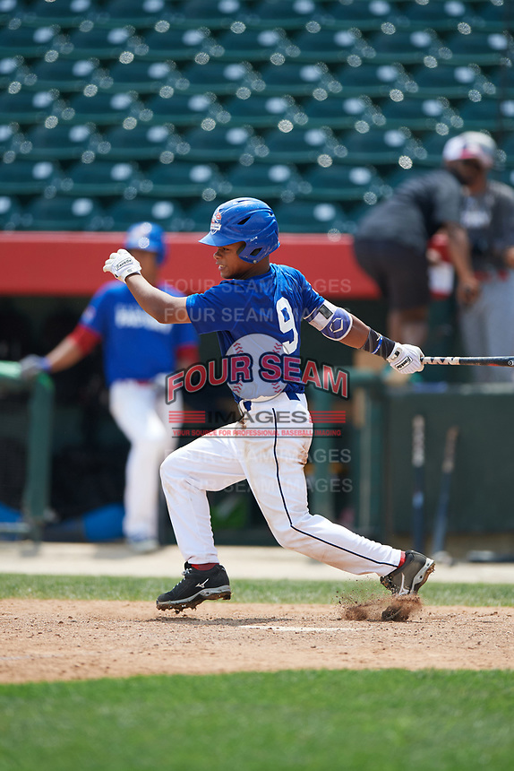 Jhon Diaz (9) during the Dominican Prospect League Elite Underclass International Series, powered by Baseball Factory, on July 31, 2017 at Silver Cross Field in Joliet, Illinois.  (Mike Janes/Four Seam Images)