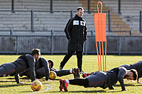 Pictured: Manager Michael Flynn (C). Thursday 18 January 2018<br /> Re: Players and staff of Newport County Football Club prepare at Newport Stadium, for their FA Cup game against Tottenham Hotspur in Wales, UK