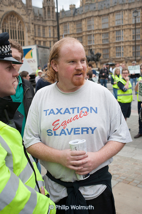 Taxation equals Slavery. The Taxpayers Alliance Rally against Debt, Westminster.