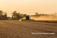 63801-07905 Soybean Harvest at sunset Marion Co. IL