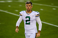 Green Bay Packers kicker Mason Crosby (2) during a National Football League game against the Chicago Bears on September 28, 2017 at Lambeau Field in Green Bay, Wisconsin. Green Bay defeated Chicago 35-14. (Brad Krause/Krause Sports Photography)