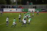 First-half action as Guernsey (in green) take on Corinthian-Casuals in a Isthmian League Division One South match at Footes Lane. Formed in 2011, Guernsey FC are a community club located in St. Peter Port on the island of Guernsey and were promoted to the Isthmian League Division One South in 2013. The visitors from Kingston upon Thames won the fixture by 1-0, watched by a crowd of 614 spectators.