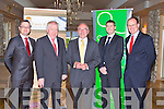 LAUNCH: Bob Casey of Casey & Co launching the strategy partnership with Noel Creedon of Quintas Wealth Management at the Ballygarry House hotel and Spa on Thursday l-r: Ian Walsh (QWM),  Minister for Arts, Heritage and the Gaeltacht  Affairs Jimmy Deenihan, Bob Casey, David O'Shea (QWM) and Noel Creedon...