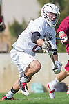 Los Angeles, CA 02/17/14 - Michael Hanover (LMU #25) in action during the Santa Clara University - Loyola Marymount University MCLA's Men's lacrosse game at Loyola Marymount University.  Santa Clara defeated LMU 11-10 in overtime.