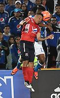 BOGOTA - COLOMBIA - 05 - 02 - 2017: Harold Mosquera (Der.) jugador de Millonarios disputa el balón con Luis Arias (Izq.) jugador de Deportivo Independiente Medellin, durante partido de la fecha 1 entre Millonarios y Deportivo Independiente Medellin, de la Liga Aguila I-2017, jugado en el estadio Nemesio Camacho El Campin de la ciudad de Bogota.  / Harold Mosquera (R) player of Millonarios vies for the ball with Luis Arias (L) player of Deportivo Independiente Medellin, during a match between Millonarios and Deportivo Independiente Medellin, for the date 1 of the Liga Aguila I-201/ at the Nemesio Camacho El Campin Stadium in Bogota city, Photo: VizzorImage / Luis Ramirez / Staff.